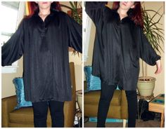 Craft, Thrift, or Die: Paint it Black: shirt to kimono refashion, thrift store refashion
