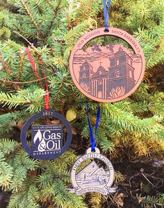 Let us create a custom ornament design for you! A variety of leather colors are available. Glitter Ornaments, Ornaments Design, Angel Ornaments, Holiday Ornaments, Holiday Decor, Holiday Gifts, Christmas Trees For Kids, Santa Barbara Mission