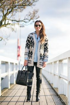 Fall Outfit denim blouse knitted cardigan leather pants celine mini luggage street style outfit ootd