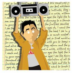 "John Cusack as Lloyd Dobler in his iconic Say Anything scene with the lyrics to Peter Gabriel's ""In Your Eyes"" making up the background.  by:  Drew Blank"