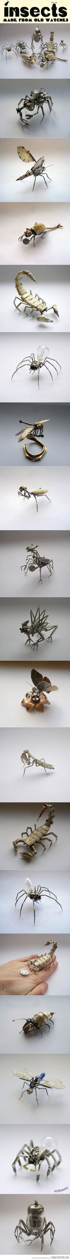 Insects made from old watches…Really cool, but I'm curious as to where the bulbs & transistor/fuse type thingies come from. Seriously ... would appreciate being enlightened.  Doesn't really matter whether they do or don't come in watches. These are still works of genius & art ... in my not always so humble openguin.  :)
