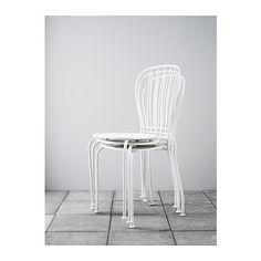 LÄCKÖ Stol, utomhus IKEA Dräneringshålet i sitsen gör att vatten rinner ut. Går att stapla vilket hjälper dig att spara plats.