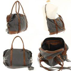 Canvastaschen - Weekender grau braun Shopper Leconi Canvas Leder - ein Designerstück von LECONI bei DaWanda