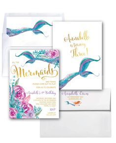 Mermaid Invitation // Under the Sea Invitation // Watercolor // Gold Foil // Boho Chic // Floral // Girls // Purple // QUEENSLAND COLLECTION by MerrimentPress on Etsy https://www.etsy.com/listing/473065654/mermaid-invitation-under-the-sea