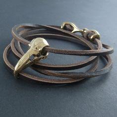Bird Skull Bracelet Raven Skull Leather Bracelet by LostApostle