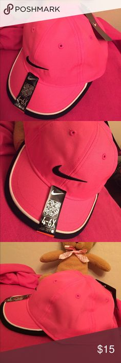 🆕 ONLY 2! Nike Kids Cap Authentic Nike Kids Cap. 4-6X. Pink. Embroidered Black Swoosh, Front & Back. Black & White Trim on the Bill. Vented. Adjustable Velcro Back. 100% Polyester. Brand New. Excellent Condition. No Trades. 2 in Stock right now. Nike Accessories Hats