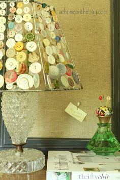 athomeonthebay10 - buttons into lampshade and perfume bottle into pin holder