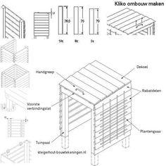 Gebruik steigerhout of pallets voor een kliko kast voor afvalemmers en grote gft containers. Doe het zelf bouwtekeningen, kliko ombouw van tuinschermen.