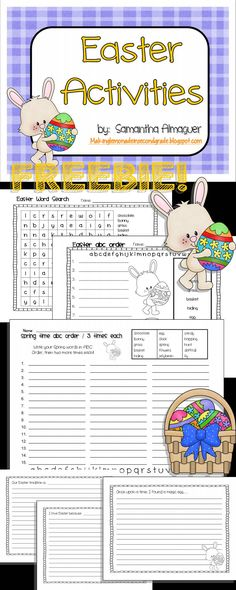 Easter Activities FREEBIE!  Includes:  Easter Word Search, ABC Order Page, ABC Order / 3 Times Each, and 3 different Easter Writing Prompt Pages!  Please be sure to leave feedback on this product!