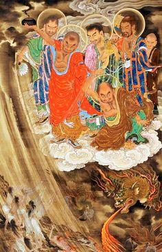 Louhans from the scrolls of 500 larharts Chinese Painting, Chinese Art, Japanese Buddhism, Japanese Art Prints, Taoism, Goddess Art, Buddhist Art, Religious Art, Deities