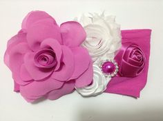 Rosa coqueta de tela en tiara VIDEO No. 323