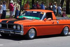 An orange Ford Falcon 351 GT in the Summernats Citycruise. Australian Muscle Cars, Aussie Muscle Cars, Ford Falcon, Chevy Motors, Big Girl Toys, Ford Girl, Old School Cars, Old Fords, Performance Cars