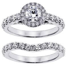 14k/18k White Gold 2 1/6ct TDW Prong Set Brilliant Cut Diamond Encrusted Engagement Bridal Set (G-H, SI1-SI2) (14k Gold - Size 5.5), Women's