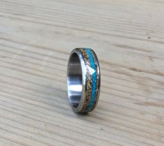 Wedding Ring Titanium Ring Tigers Eye and by RobandLean on Etsy