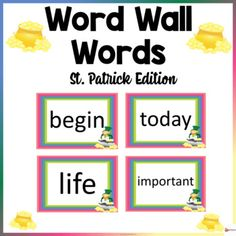 Word Wall Words St. Patrick ThemeThese word wall word cards St. Patrick theme in this 200-page packet will add a fun and bright focus in your classroom. The download contains 300-400 words from Fry's high-frequency list.Check out our other Word Wall Words. Click below.Word Walls...
