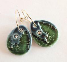 Moonlit Forest Porcelain Earrings by carolmilich on Etsy, $22.00
