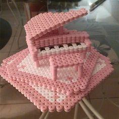 3D Pink piano hama beads by lalarita06