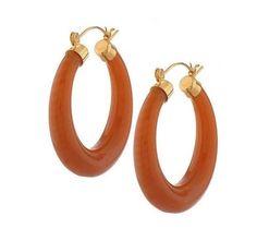 qvc Joan Rivers Goldtone Caramel Resin Hoop Earrings Gorgeous Collectors Signed #JoanRivers #Hoop