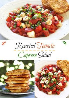 Roasted Tomato Caprese Salad. Roma tomatoes roasted w/olive oil, balsamic, garlic, sugar, salt & pepper then mixed with mozzarella pearls and fresh basil. Simply Sated