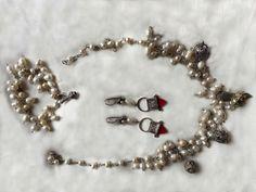 Art of Jewellery- Splendour of Persia pearl and antique silver pendants Set of necklace, bracelet, earring