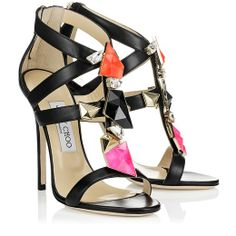 Black Nappa Sandals with Stones   Colada   Cruise 2013   JIMMY CHOO Sandals