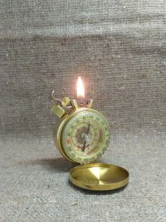 Vintage Petrol Lighter Sea Compass Handmade Steampunk