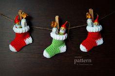Crochet Pattern Crochet Christmas Stocking Ornaments by ZoomYummy