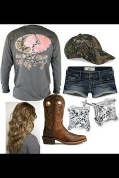 Mossy Oak and camo hat with diamond earrings and cowgirl boots