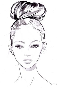 Fashion Illustration Sneak peek: how-to bridal hairstyles - Hairstyles - YouAndYourWedding - High roller: step 1 - Get ready for a bumper hair how-to feature in our May/June issue with a teaser of our favourite styles Face Sketch, Drawing Sketches, Art Drawings, Drawing Faces, How To Sketch Faces, Simple Face Drawing, How To Draw Faces, How To Draw People, Sketching