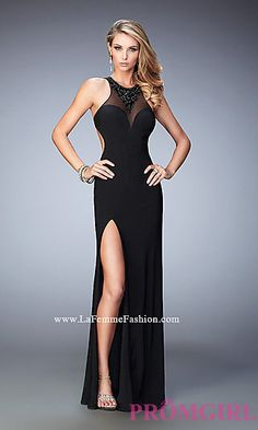 Black Long Illusion Sweetheart Prom Dress by La Femme at PromGirl.com