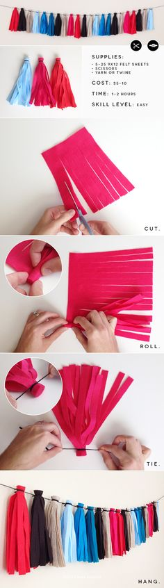 DIY Giant *Felt* Tassel Garland. Easy, inexpensive, durable, and reusable! A great alternative to tissue garlands.