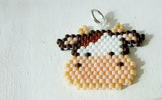 Kawaii Cow Charm, Cute Farm Animal, Beaded Pendant Necklace, Brick Stitch Beading, Miyuki Seed Beads