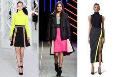 Neons  The electric shades that hit their peak in the '80s are returning in a much more sophisticated way, now paired with neutral colors such as gray, navy, or camel.