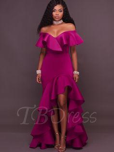 Tbdress.com offers high quality Fuchsia Falbala Slash Neck Women's Maxi Dress Maxi Dresses unit price of $ 19.99.