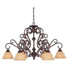 "Scrolling bronzed chandelier.   Product: ChandelierConstruction Material: Metal and glassColor: BronzeFeatures: Brings Old World elegance to your foyer, den or master suiteAccommodates: (6) 60 Watt medium base bulbs - not includedDimensions: 25"" H x 31.5"" W x 42"" D"