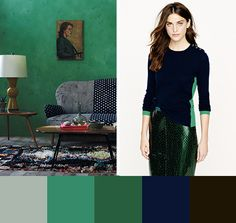 Huesday: Emerald and Navy Green Wall Color, Wall Colors, Green Walls, Paint Colors, Colours, Paint Color Schemes, Colour Pallette, Interior Design Living Room, Living Room Decor