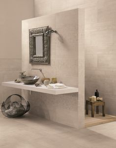 Porcelain stoneware wall/floor #tiles LINK GOST WHITE by CERAMICHE KEOPE #bathroom @Ceramiche Keope