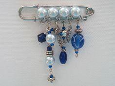 Blue Pearl Bead Kilt Pin Brooch - Folksy | Craft Juice - Handmade Social Network