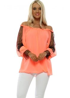 Stylish lace off the shoulder tops available now at Designer Desirables. Bardot Top, Lace Cuffs, Coral Lace, Going Out Tops, Lace Sleeves, Lace Tops, Chiffon, Ruffle Blouse, Neon