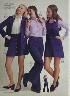 Miniskirts And Lots Of Purple: A 1972 Women's Fashion Catalog - Flashbak - - For you're viewing pleasure, I have lovingly scanned the women's fashion pages from the 1972 Simpsons-Sears Fall/Winter catalog. Decades Fashion, 70s Inspired Fashion, Seventies Fashion, 60s And 70s Fashion, Retro Fashion, Vintage Fashion, Womens Fashion, Korean Fashion, 1960s Fashion Women