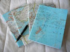 Imagine the world is your oyster....open a book and write down your dreams Vintage Map Covered Composition NotebookWide by LizzieLuvs2Recycle, $8.00