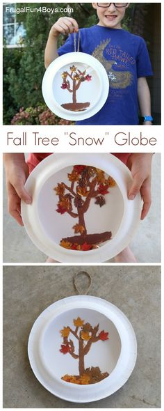 """Fall Craft for Kids:  Paper Plate Fall Tree """"Snow"""" Globe"""