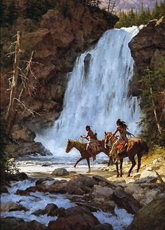 Howard Terpning - Crossing Below the Falls