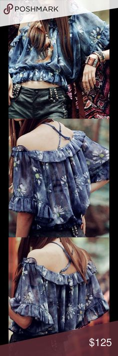 Exclusive Floral Boho Crop Top This is a sweet floral summer top with frill sleeves and a boat neck. It is made of 100% polyester. Independent Designer Tops Crop Tops