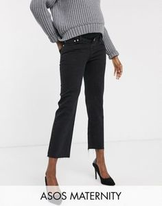 Shop ASOS DESIGN Maternity High rise 'effortless' stretch kick flare jeans in black. With a variety of delivery, payment and return options available, shopping with ASOS is easy and secure. Shop with ASOS today. Asos Maternity, Maternity Jeans, Maternity Tops, Kick Flare Jeans, Stretch Jeans, Jean Court, Bardot Midi Dress, High Waist