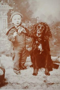 Antique Cabinet Photograph Adorable Child with Dog | eBay