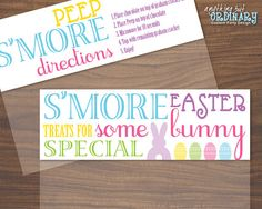 Just print fold and staple printable kids easter treat tag free easter smores diy bag topper labels by abocustomdesign 400 negle Image collections