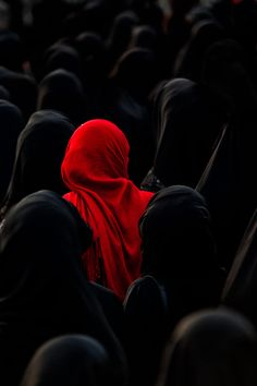 alone in a crowd, red veil