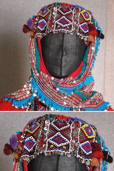 Traditional bridal headgear of the Karakeçeli villages in the district of Keles (south of Bursa).  Clothing style: mid-20th century.  In close-up: the 'fes' (cap), adorned with bead work panels. (Kavak Folklor Ekibi & Costume Collection-Antwerpen/Belgium).