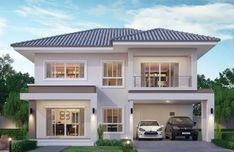 Haus bau House design plan with 4 bedrooms - Home Design with Plansearch Should I Buy A Cuck Two Story House Design, 2 Storey House Design, Small House Design, Modern House Design, 4 Bedroom House Designs, 4 Bedroom House Plans, Bungalow House Design, Home Building Design, Home Design Floor Plans
